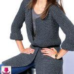 Tricoter veste femme point mousse