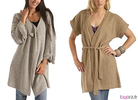 gilet long grosse maille beige laine et tricot. Black Bedroom Furniture Sets. Home Design Ideas