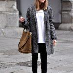 Manteau gris chiné femme