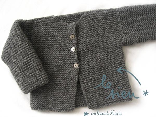 tricoter gilet b b point mousse laine et tricot. Black Bedroom Furniture Sets. Home Design Ideas