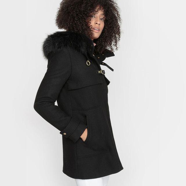 Manteau court pure laine femme