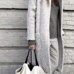Veste laine grise femme