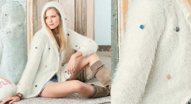 Modele tricot veste a capuche femme