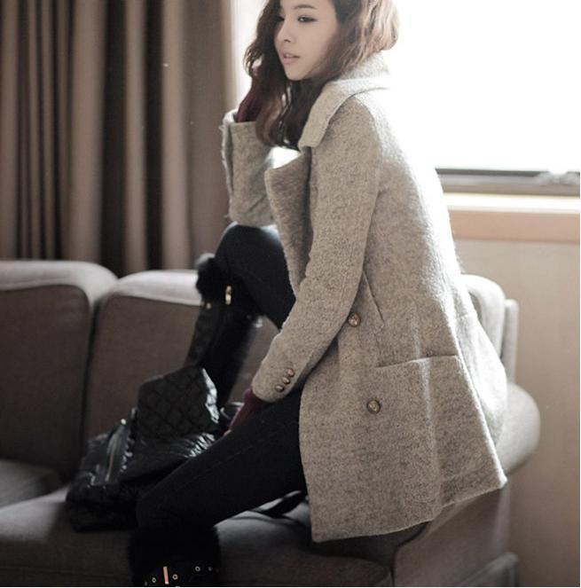 Manteau de laine gris femme