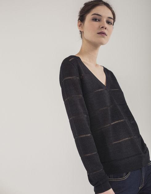 pull noir brillant femme laine et tricot. Black Bedroom Furniture Sets. Home Design Ideas
