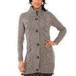 Gilet long laine femme grosse maille