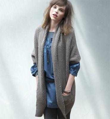 modele tricot gilet long