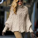 Tricot poncho femme