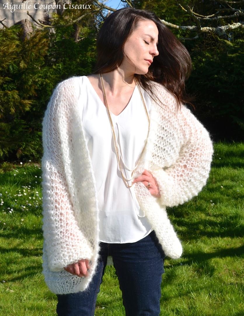 Gilet loose tricot laine et tricot - Grosse laine pour tricoter sans aiguille ...