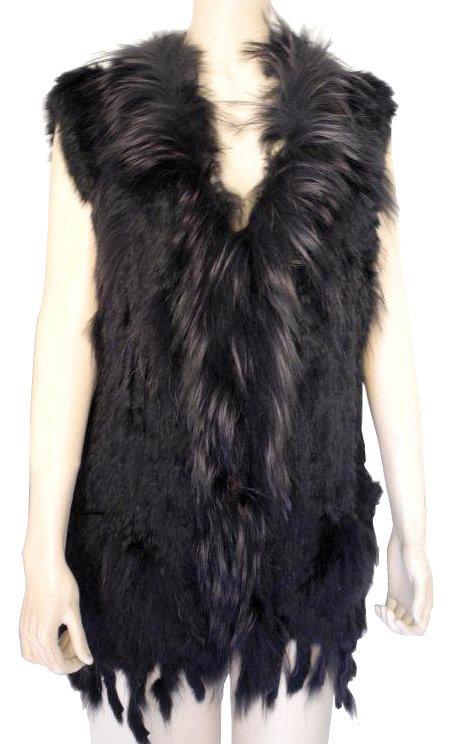 Gilet fourrure sans manche laine et tricot - Fourrure noir sans manche ...