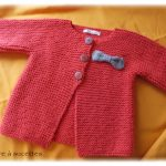 Gilet bebe point mousse a tricoter