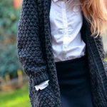 Gilet long en laine grosse maille