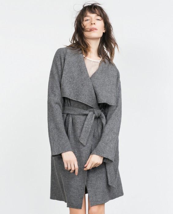 Manteau en laine gris femme