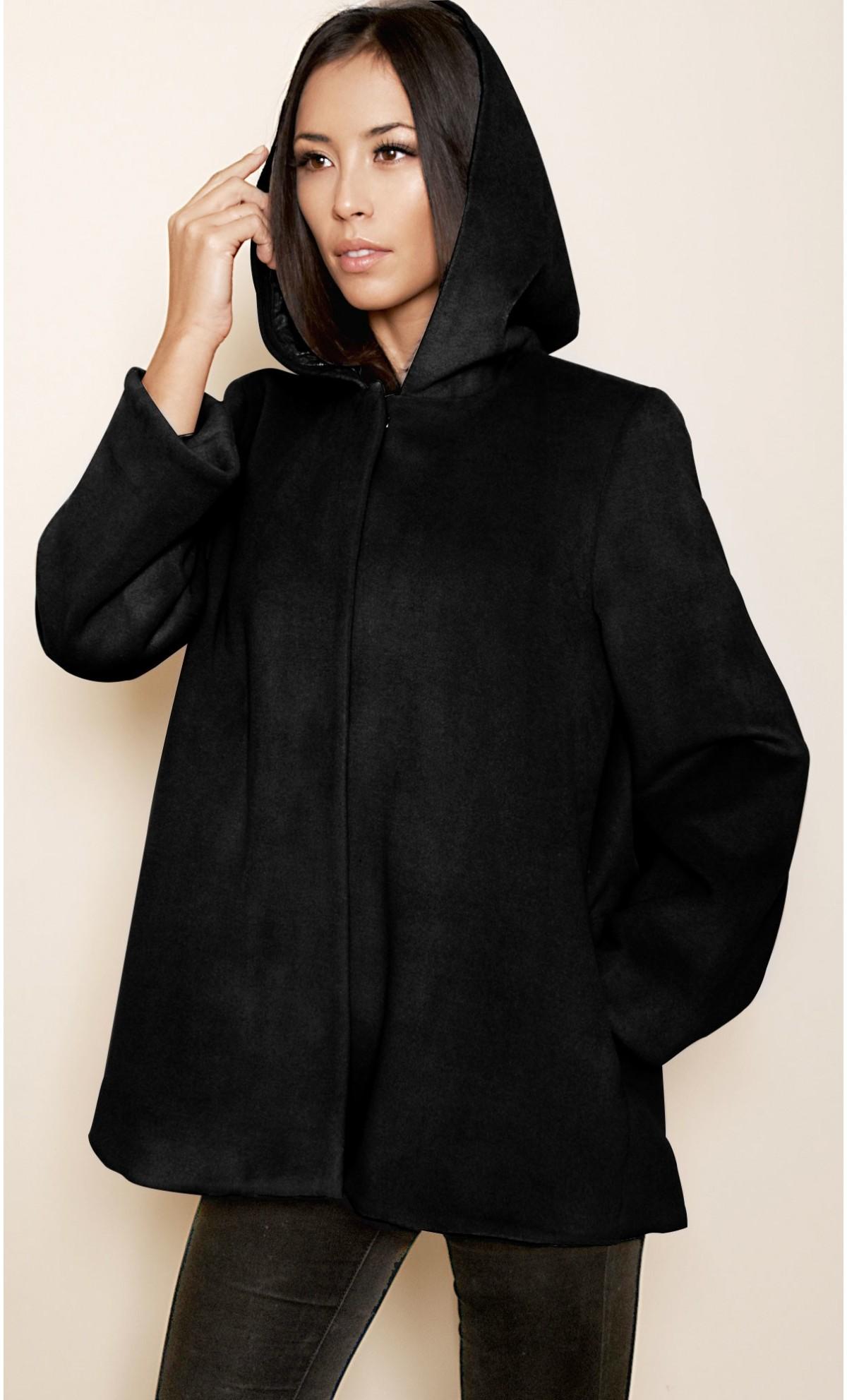 Manteau en laine noir femme