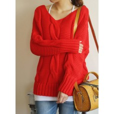 Pull laine rouge femme
