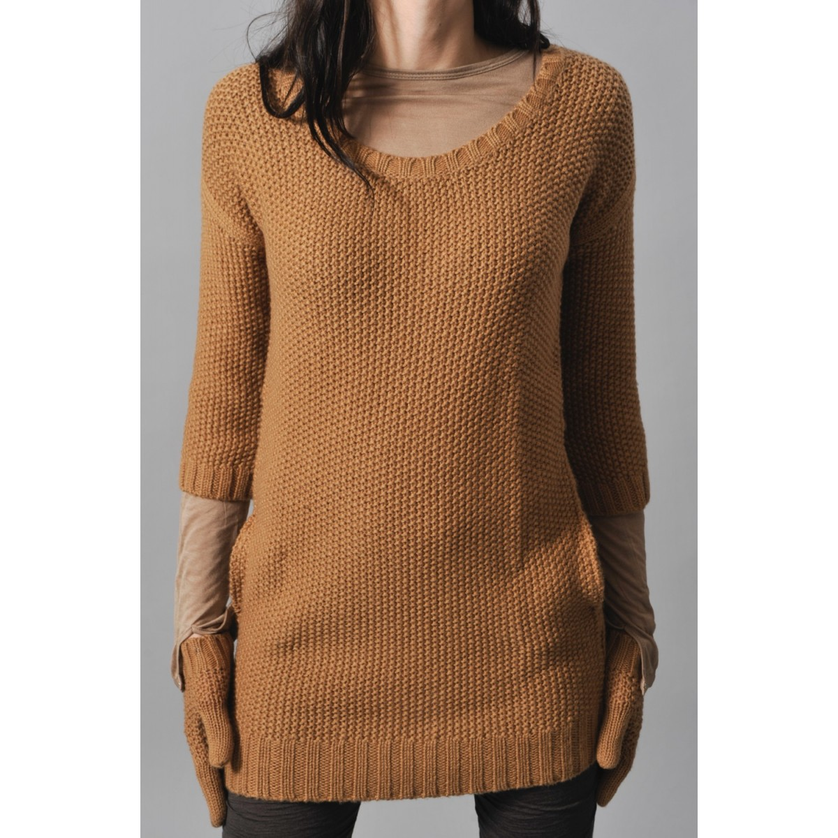 7069f8f95217 Pull camel femme - Laine et tricot